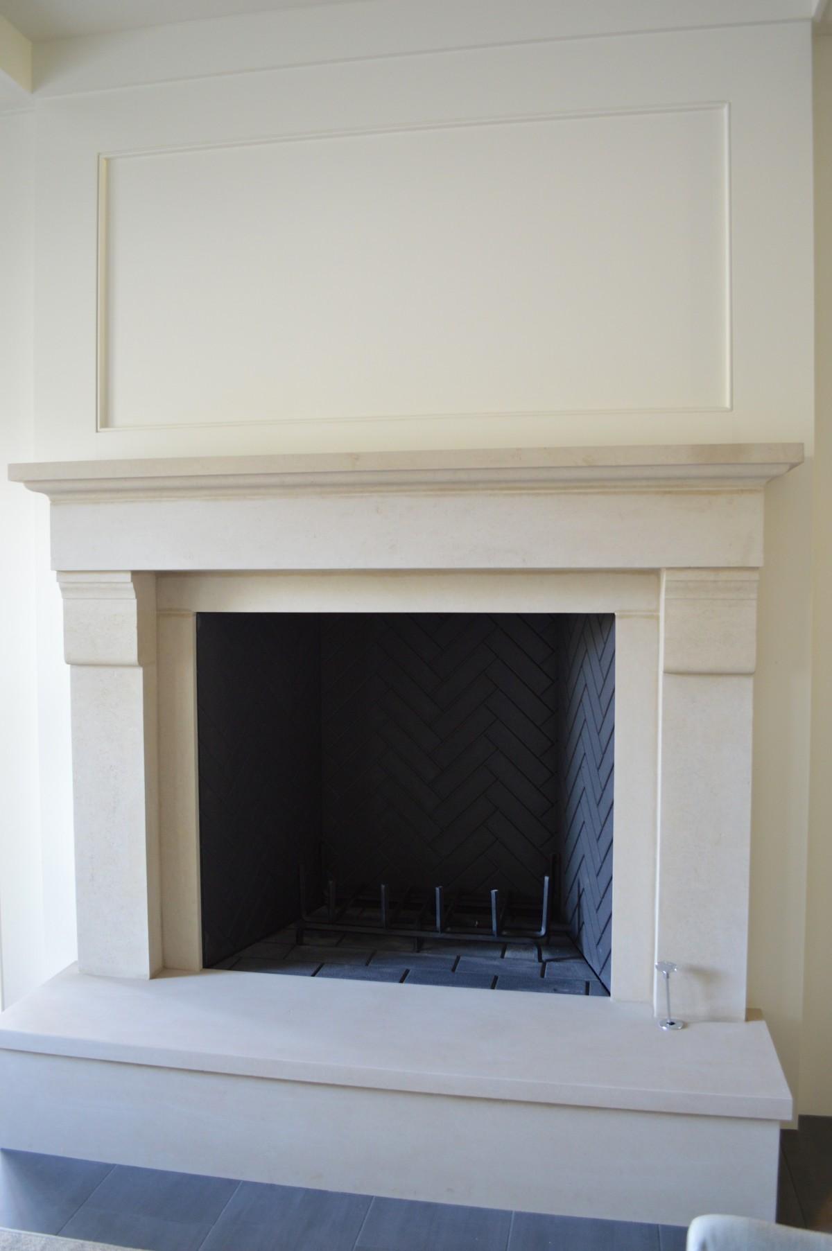 custom limestone mantel